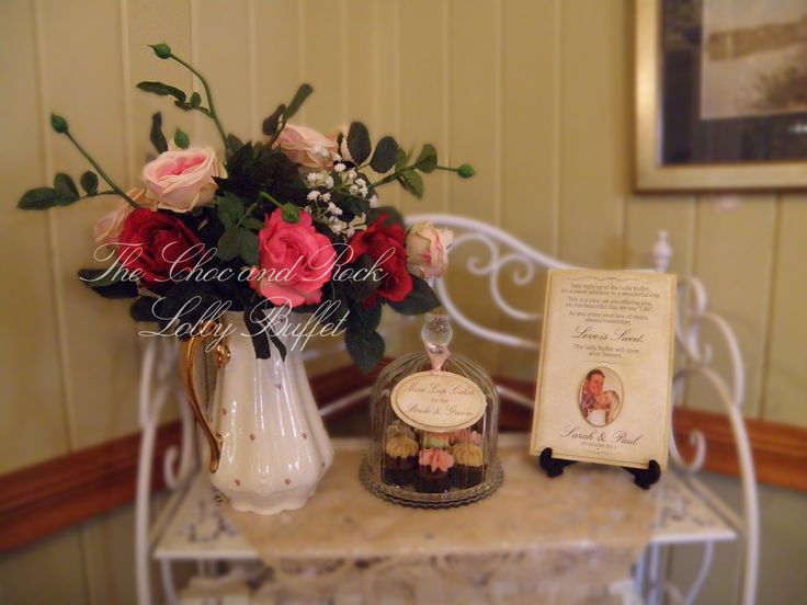 We provided 7 mini cup cakes for the enjoyment of the bride and groom and we also designed the poem for the stand.   www.facebook.com/thechocandrocklollybuffet www.thechocandrock.com