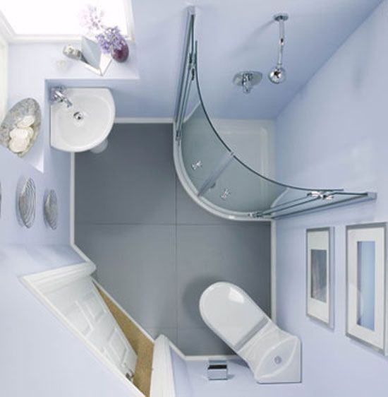 Tiny corner bathroom - clever corner sink & toilet.