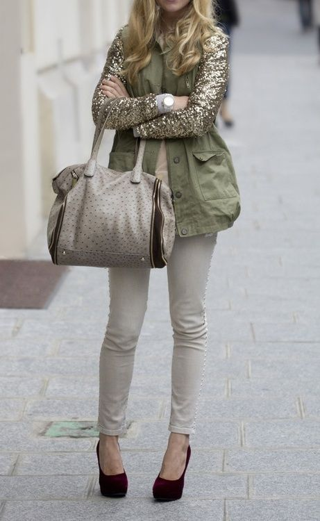 Kaki and sequins coat with off-white skinny
