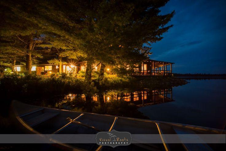Arowhon lodge at dusk.