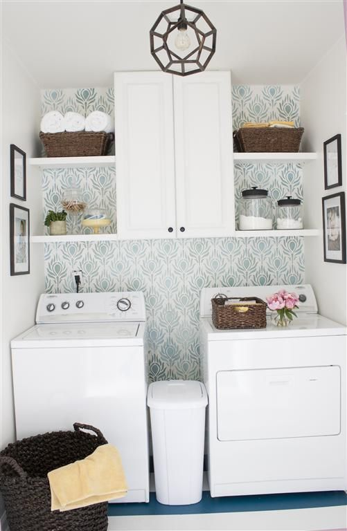 I like the shelves and garbage can in between... Laundry Room Decor :: The Lily Pad Cottage's clipboard on Hometalk :: Hometalk Redo the shelving and put wallpaper or dark red paint behind washer