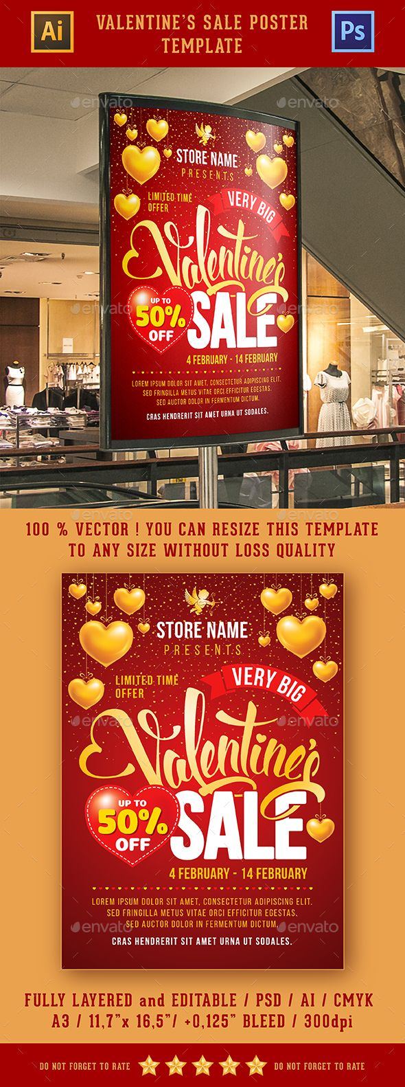 Valentines Sale Poster Template