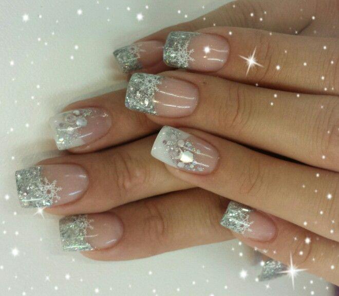 White silver snow flakes