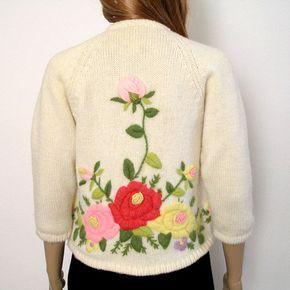RESERVADO para Terry 1950s 1960s Rebeca / 50s 60s suéter / bordados florales…