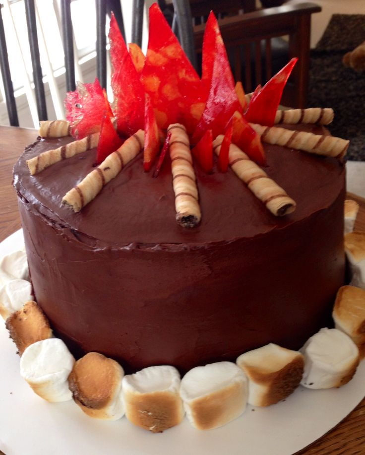 #CubScout Campfire Cake, 3 layer chocolate, made for the Blue and Gold Banquet.