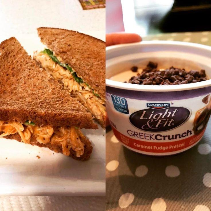 Tyler Schabroni (@tymariefit) Start the week off right with healthy choices, lunch today was chicken salad sandwich and light & fit greek yoghurt 46P/37C/6F  #fitfam #fitfood #iifym #iifymgirls #chickensalad #lightnfitgreek #girlswholift kalkon kyckling macka kvarg chocolate chips