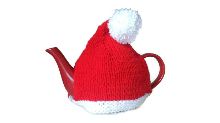 Santa Tea Cosy Hand knitted Christmas Xmas Novelty Red Vintage Style Retro by…