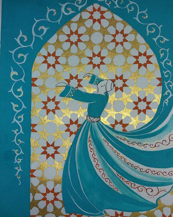 Free Shipping Original Painting Whirling Dervish by AEDesignHouse