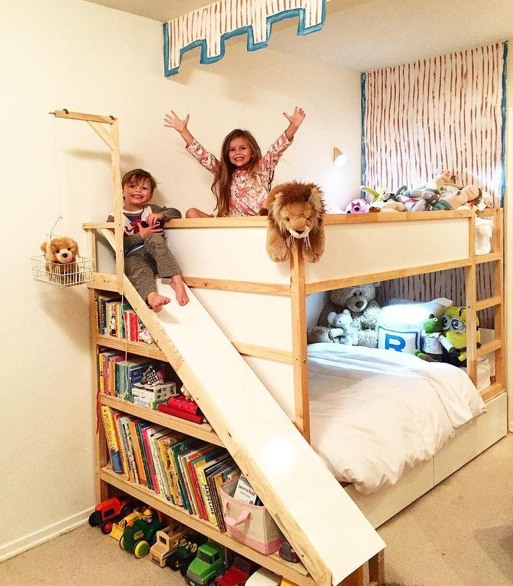 """IKEA_Hackers on Instagram: """"Slide bunk bed 👧🏼👦🏼👶🏼 (IKEA KURA bed) instagram – @theboomershines ・・・ Our ikea bunk bed hack is almost complete! We needed two beds,…"""""""