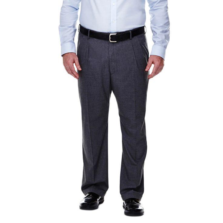 Haggar H26 - Men's Big & Tall Classic Fit Stretch Suit Pants Medium Gray 48x29, Mid Grey