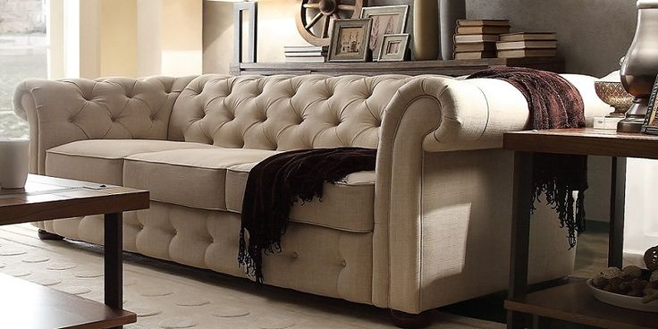 Tan Fabric Chesterfield Sofa