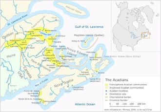 Present-day Acadian communities. The Acadians (French: Acadiens) are the descendants of the 17th-century French colonists who settled in Acadia, many of whom are metis.
