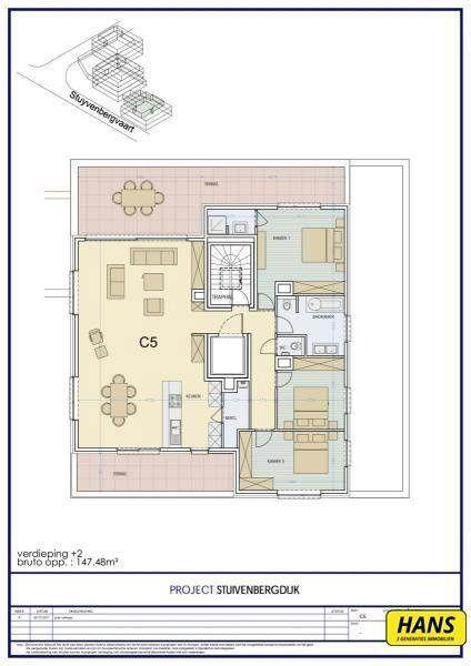 Penthouse te koop in Mechelen - 3 slaapkamers - 147m² - 369 952 € - Logic-immo.be - Een exclusieve penthouse met zicht op het water van 147 m² met 3 slaapkamers en 2 badkamers. Er is een terras aanwezig van 20 m² dat zicht geeft op het groen. Dit is een nieuwbouwproject van Stuivenbe...