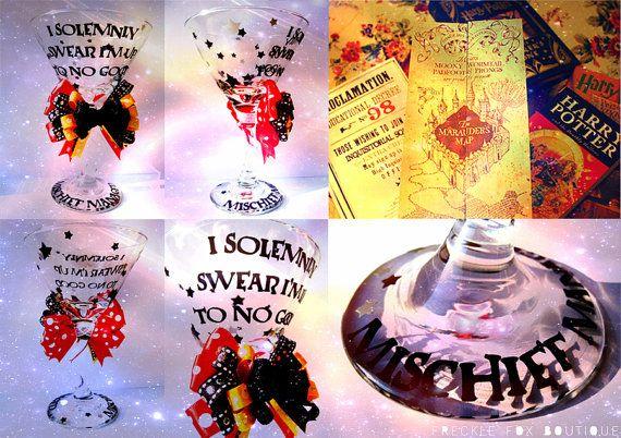 Harry Potter Mischief Managed Hogwarts by frecklefoxboutique, $19.99: Martini Glass Yes, Marauders Map, Marauder Map, Glasses, House Gryffindor, Hogwarts Martini, Big S Crafts, Craft Ideas