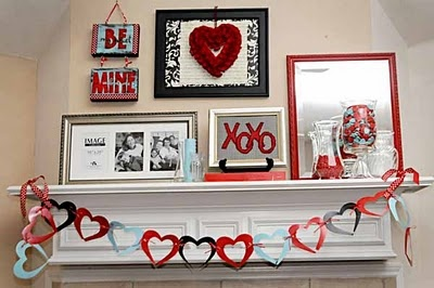Valentine's Decor  - aqua and red...oh yeah!