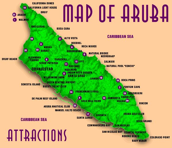 Map of Aruba Attractions