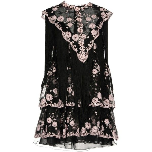 Giamba Short Dress (12 660 SEK) ❤ liked on Polyvore featuring dresses, black, lace mini dress, short lace dress, zipper dress, fringe dress and lace dress