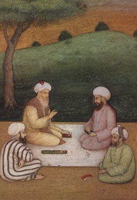 Meeting of Sufi Saints. Mughal painting, circa 1645 AD. National Museum