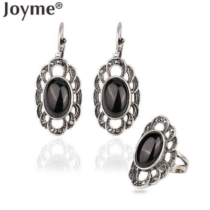 Festival Turkish Jewelry Retro Thai Silver Flower Pierced Earring Set Black Agate Stones Resin For Women Turquoise Ring Set