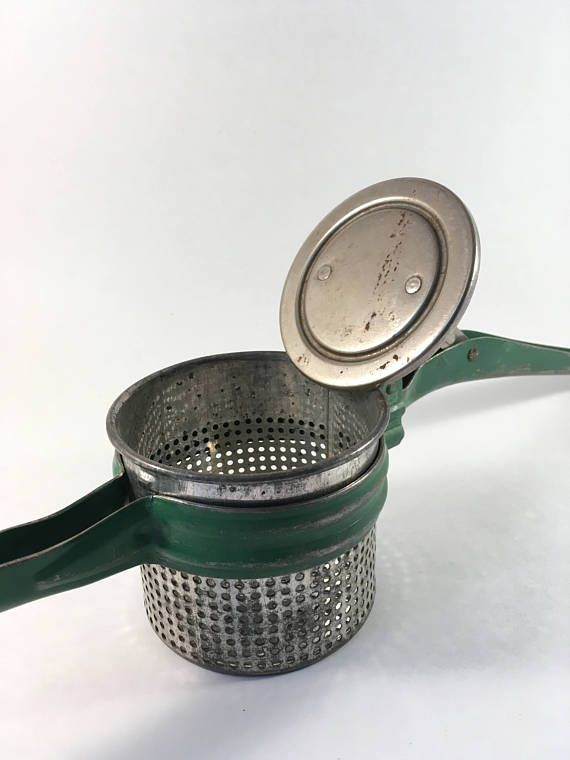 Vintage Green and Silver Metal Potato Ricer Farmhouse Kitchen