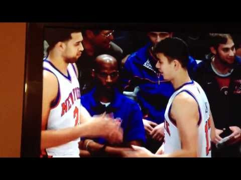 Nerd handshake between Knicks players Jeremy Lin (Harvard) and Landry Fields (Stanford) that involves flipping the pages of an imaginary book.