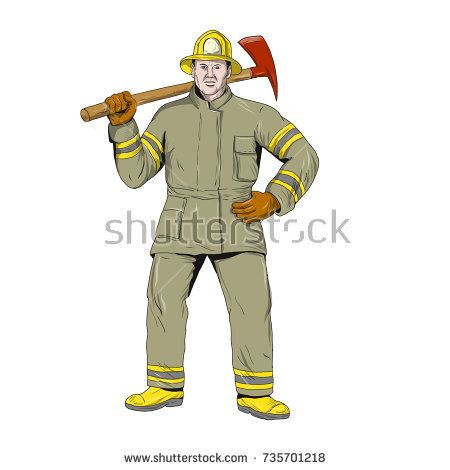 Drawing sketch style illustration of an American Firefighter fireman first responder holding Fire Axe on shoulder standing viewed from front on isolated background.  #firefighter #drawing #illustration