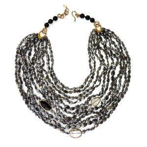 Collar corto de plata, labradorita, onix y cristalino.  www.sanci.es