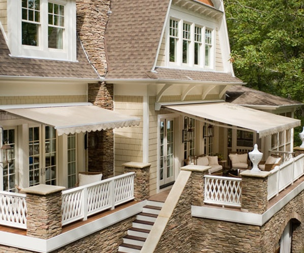 Scalloped Awnings Make Two Little Outdoor Rooms Outdoor