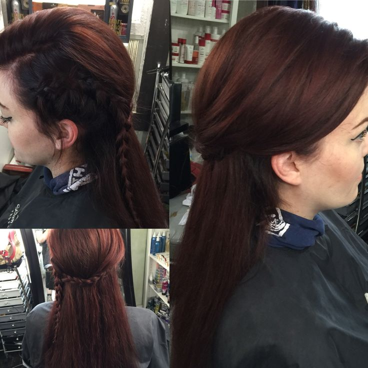 Deep auburn hair with a shadow root.  Festival braid fun. V-Star Salon in North Little Rock, Arkansas. 501-626-4545