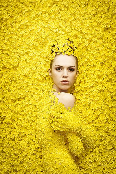 ❀ Flower Maiden Fantasy ❀ beautiful photography of women and flowers - yellow, anyone?