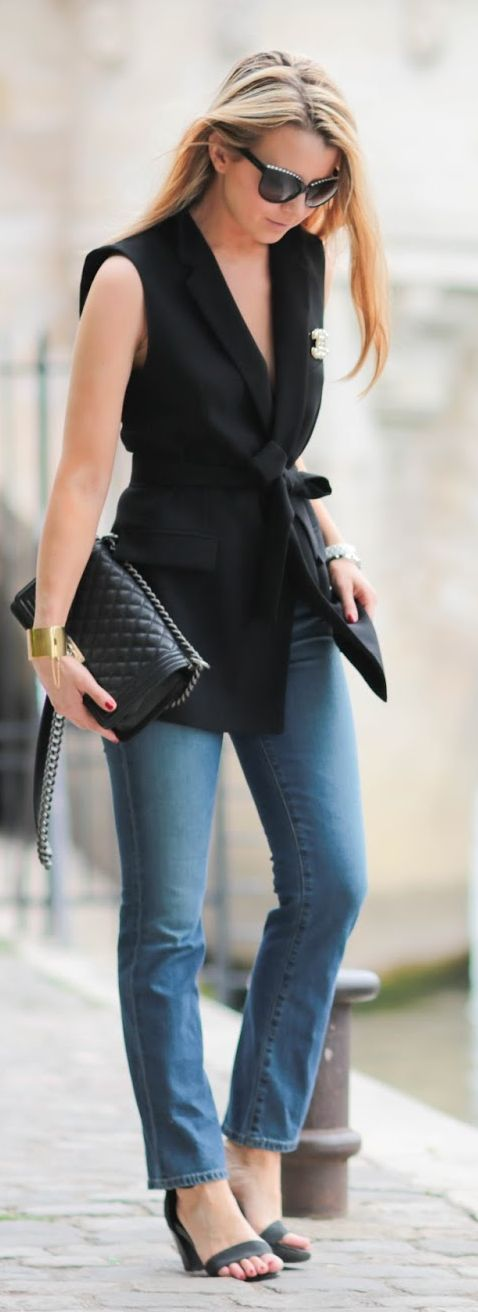 Pardon My Obsession Black And Denim Outfit Idea