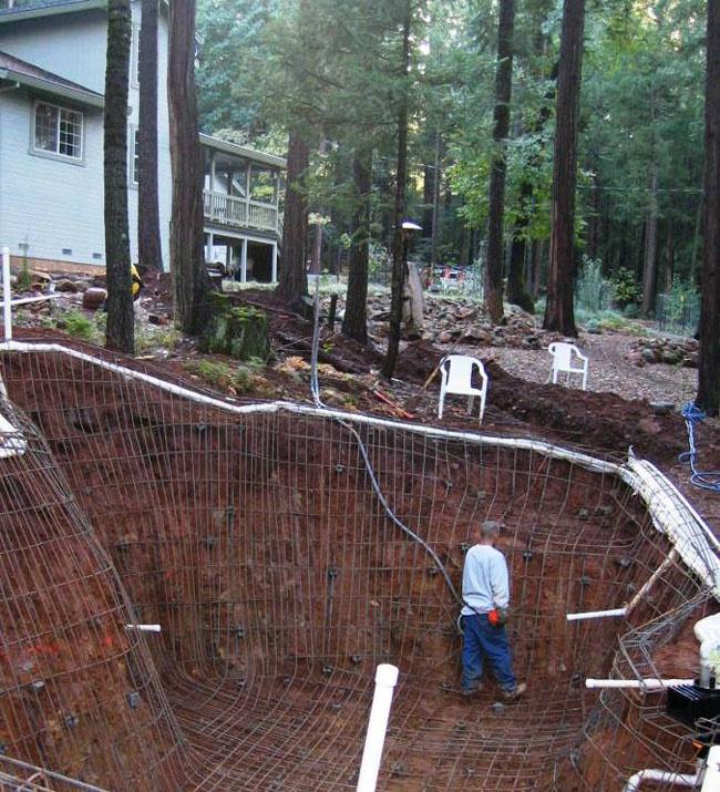 hillside pool construction. beautiful ideas. Home Design Ideas