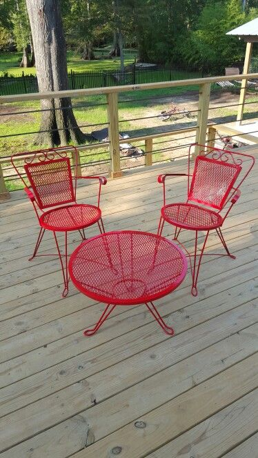 Bright red iron table! Sold by before and after by jenn/ jenn procell
