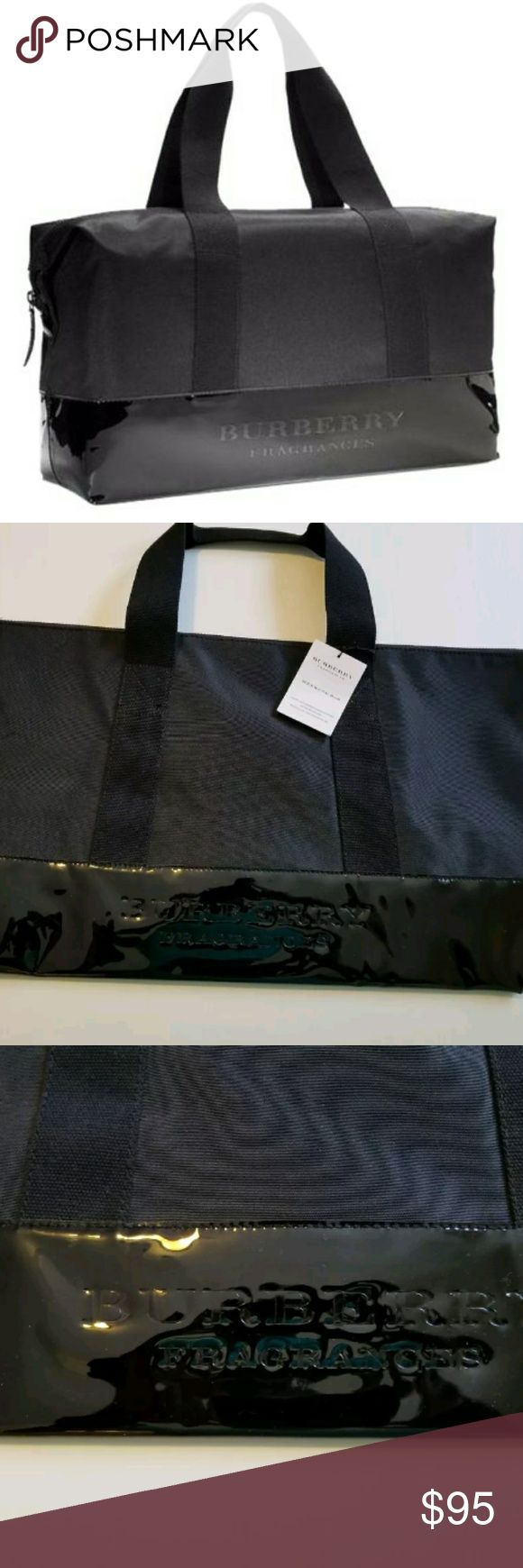 """NIP Burberry Fragrances Weekender Duffle Tote Bag New With Tag & In The Packaging Burberry Fragrances Weekender Travel Duffle Tote Bag.  Black With Black Patent Leather Bottom & Handles.  Snap Closure On Each Side To Make It A Stchel Style Bag. Easy Ti Wioe Clean Exteruor With A Fully Lined Signature Burberry Print Interior.  The BagCan Be Used For Travel, Work School Or Everyday Wear. A Really Nice & Stylish Piece.  W25"""" x L13.5"""" x D 5.5"""" With An 8in Strap Drop.  Thank You & Please Feel…"""