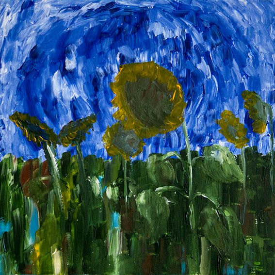 Acryl, Sunflower. Modern Art by Den Nechay