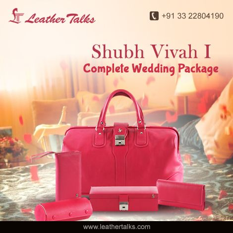 Shubh vivah collection is a complete wedding package for a bride. Be it a #jewellerybox, #banglerollcase, to store your ornaments or a #duffelbag to pack for your honeymoon, you will get everything in this collection. #madewithpureleather Hurry up and grab this http://leathertalks.com/product/shubh-vivah-1/