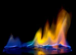 The rainbow of colored fire was made using common household chemicals to color the flames. - Anne Helmenstine