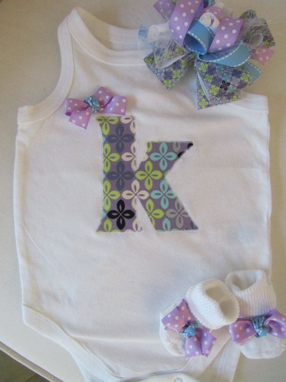 Monogrammed Baby Girl Clothing Set/ Newborn Baby Going Home Set/ Girls Monogram Clothing Gift Set (Lavender, Sky Blue, Steel Gray)