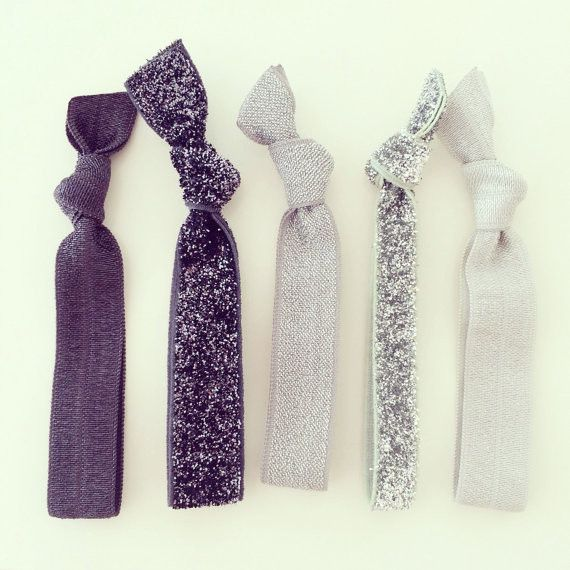 Silver + Charcoal Gray Glitter Hair Tie Set