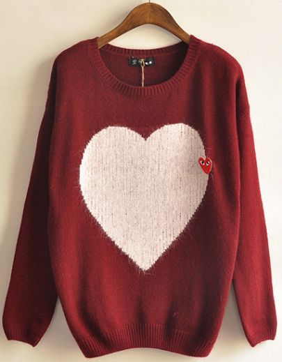 Red Long Sleeve Heart Pattern Loose Sweater pictures