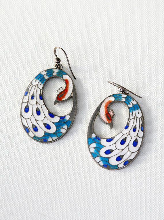 Peacock earrings enamel 70's