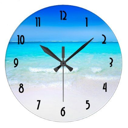 #Tropical Beach with a Turquoise Sea Large Clock - #travel #trip #journey #tour #voyage #vacationtrip #vaction #traveling #travelling #gifts #giftideas #idea