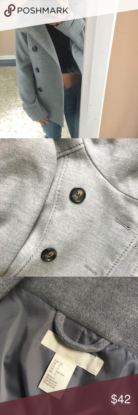 Pea coat Gray pea coat, great look for fall in a city 🌃 H&M Jackets & Coats Pea Coats