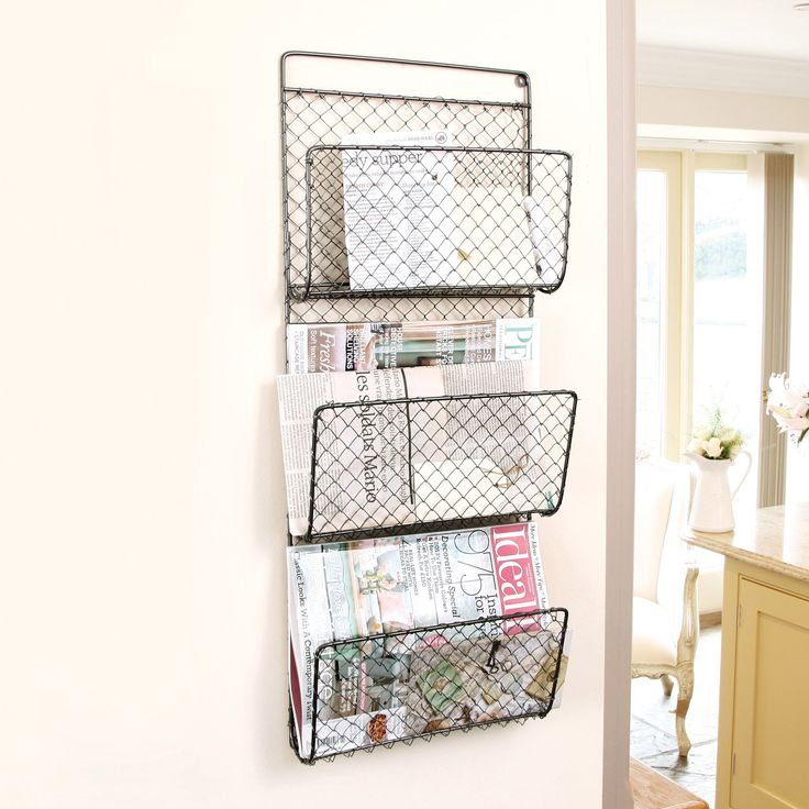 three compartment wall mounted mail and magazine rack wall store holder h72 x w29 x d8