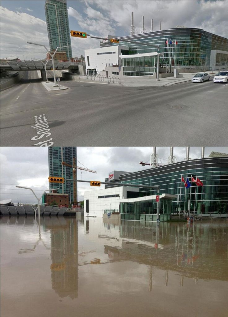 @@Alex Jones Jones Ruiz 2m Oh Calgary :( -- Before/After Downtown Calgary. 9th Ave SE at 4th St #yycflood via @AlainDupere @Debbie Arruda Halling Network