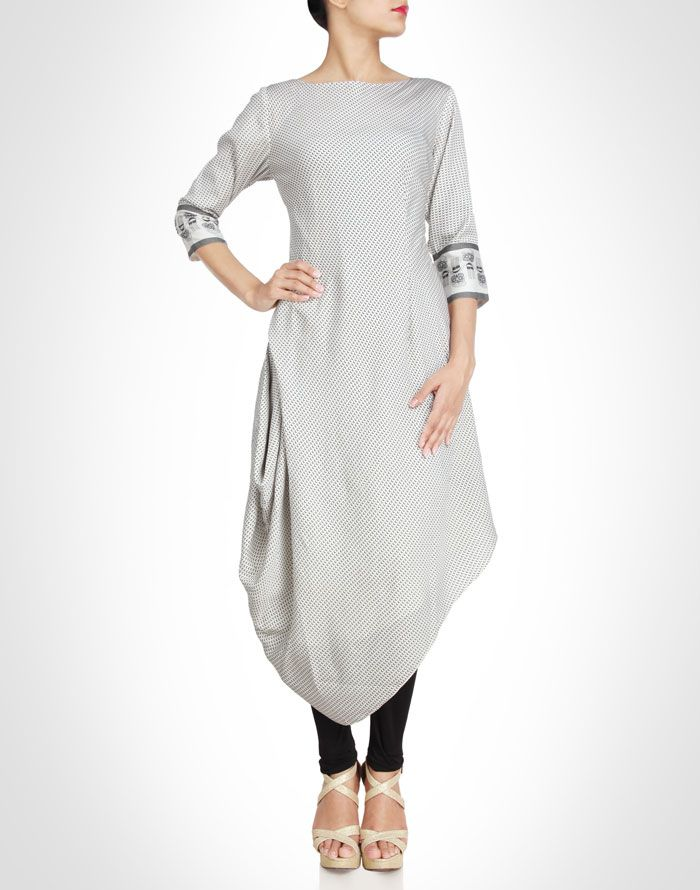 Draped asymmetrical tunic. Shop Now: www.kimaya.in
