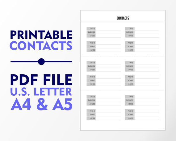 Contacts Single Page A4 A5 and U.S. Letter Downloadable by vecprin