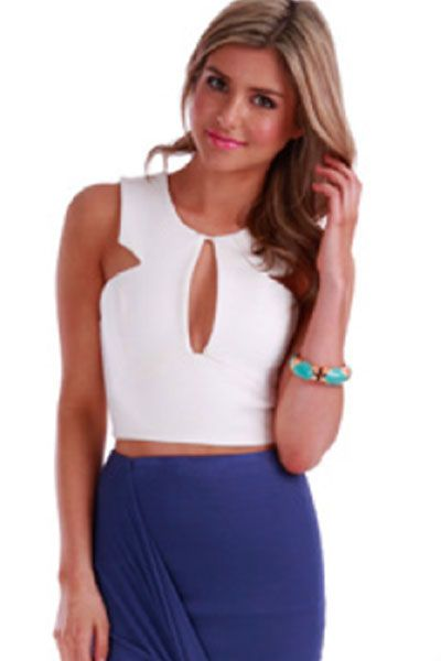 White Super Cute Crop Top
