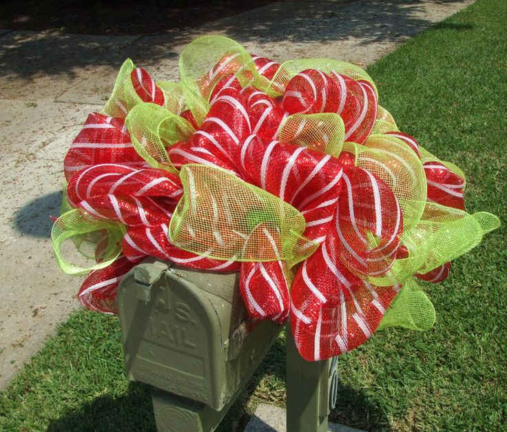 Image detail for -Deco Mesh Christmas Wreath For Door or Wall Lime Green Red White ...