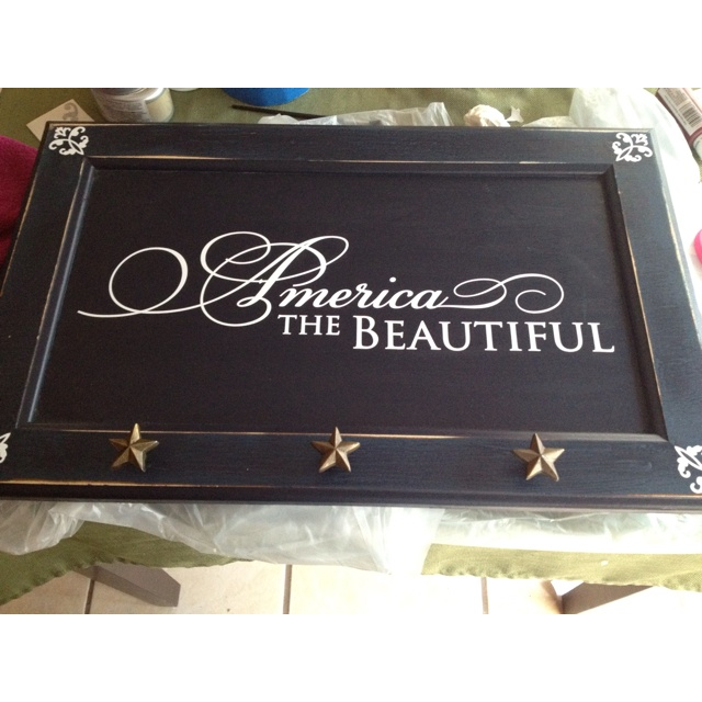 America the beautiful in cabinet door. With Simply Said designs!